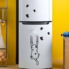 popular kitchen cabinet refrigerator buy cheap kitchen cabinet fashion home decor cat pattern furniture glass stickers refrigerator kitchen cabinet wall stickers hg ws