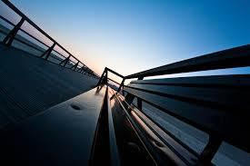 other park bench footbridge sunset clouds bridge beach dual