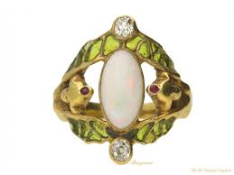 art nouveau opal ruby and diamond ring fren ref 22195