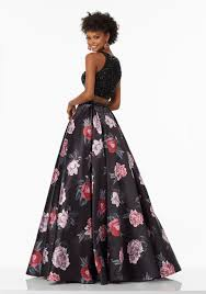 two piece prom gown with floral printed satin skirt style 99096