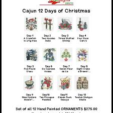 12 days of christmas ornaments jude designs set of 12 cajun days of christmas ornaments new