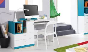 Destockage Bureau Design Ado Et Enfant En Bois Blanc Et Bleu Jolly Destockage Bureau