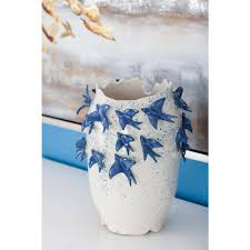 White Decorative Vase 12 In Ceramic White Decorative Vase With Bird Sculptures 62182