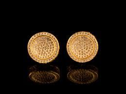 18k gold earrings 18k gold paved cluster earrings all4gold