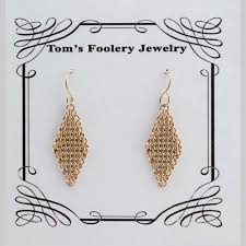 14kt gold earrings handmade jewelry gold fill earrings tom s foolery chainmaille