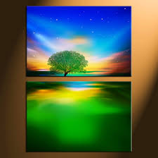 home decor prints 2 piece colorful canvas landscape tree wall art decor