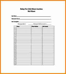 Bid Sheet Template 10 Silent Auction Bid Sheets Cashier Resume