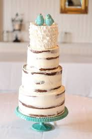 birch wedding cake 4 tiers with ruffles and turquoise
