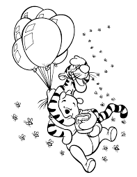 winnie the pooh and tigger playing balloon coloring pages