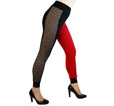 plus size halloween tights fishnet side red and black harley quinn leggings cosplay plus