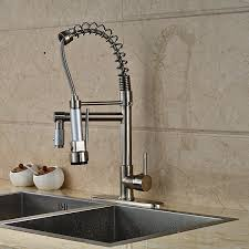 senlesen brushed nickel kitchen sink faucet pull out down sprayer