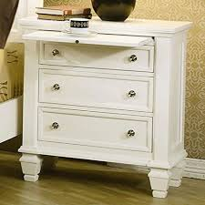 amazon com coaster nightstand with pull out tray in white finish