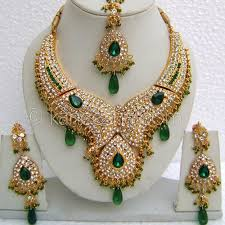 gold set in pakistan high fashion green bridal gold plated cz necklace set gold