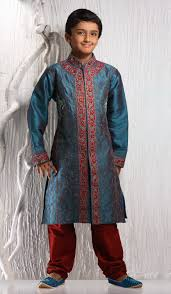 teal blue art dupion stylish indian kids kurta pajama