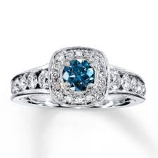 blue and white engagement rings jared blue white ring 1 1 8 carats tw 14k white gold