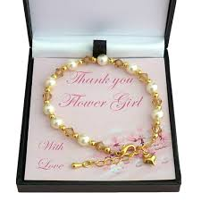 girls bracelet gold images Thank you gift for bridesmaids flower girls ivory gold jpg