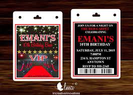 red carpet birthday invitation vip invitation pass red