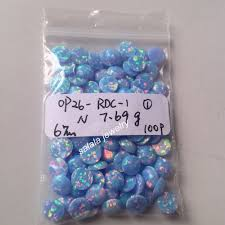cornflower blue opal 100pcs lot op26 cronflower blue 6mm round flat bottom fire opal