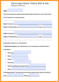 Vehicle Bill Of Sale Form by Mississippi Boat Bill Of Sale Form Sop Example