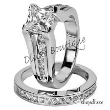 Stainless Steel Wedding Rings by Womens Stainless Steel Wedding Ring Set Ebay