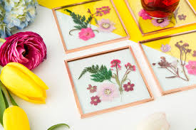 these pretty pressed flower coasters are now a kit brit co