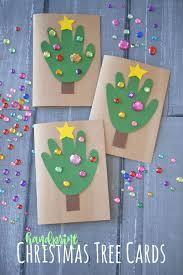 diy handprint christmas tree cards blitsy