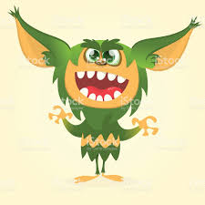 halloween vectors happy cartoon gremlin monster halloween vector goblin or troll