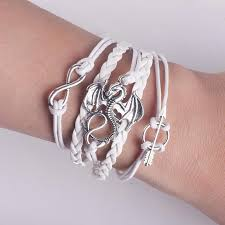 leather bracelet silver charms images Men leather bracelet vintage punk antique silver dragon bracelets jpg