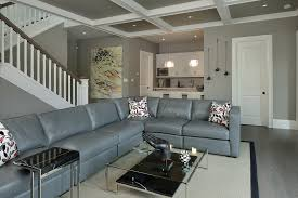 basement paint color hall transitional with gray walls modern
