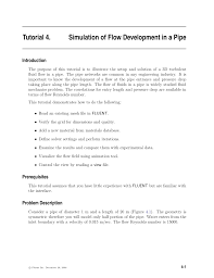 simulation of flow development in a pipe pdf download available