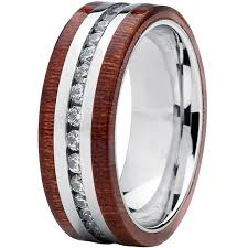 wood inlay wedding band oliveti stainless steel eternity cubic zirconia and wood inlay