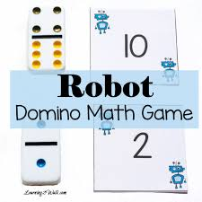 robot domino math game for number recognition