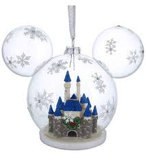 ornament mickey icon cinderella castle globe