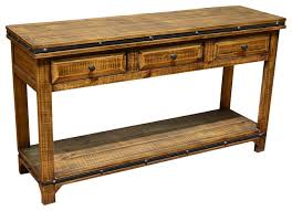 robinwood 3 drawer console table console table with drawers addison rustic pine wood sofa table