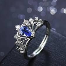 blue gem rings images Elegant queen 39 s crown pattern with blue gem 925 sterling silver jpg