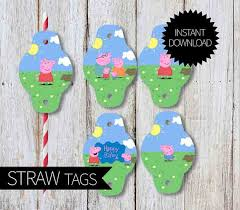 peppa pig birthday partyprintable straw tags instant download