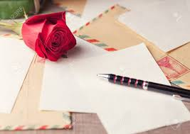 Paper Table L Vintage Envelopes Roses And Sheets Of Paper Scattered On