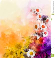oil painting flowers mix watercolor techniques in background stock
