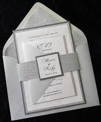 glitter wedding invitation silver glitter wedding invitation
