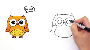how to draw a cute cartoon owl easy step by step youtube