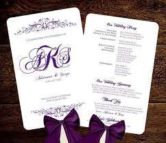 wedding programs fans templates wedding fan program template purple monogram printable initials