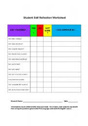 english worksheets student self reflection worksheet
