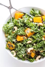 kale and pumpkin salad with roasted garlic tahini dressing