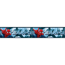 Self Adhesive Wallpaper by Spiderman Team Up Self Adhesive Wallpaper Border 5m Bedroom