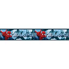 spiderman team up self adhesive wallpaper border 5m bedroom