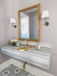 Marble Sink Vanity Gray And Gold Powder Room With Gray Striped Marble Sink Vanity