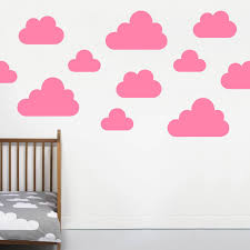 cloud wall stickers by little chip notonthehighstreet com pink large