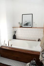 Bathroom Moroccan Porcelain Cast Iron Bathtub Sinks Shower Bench Modern Vintage Bathroom Reveal Natural Shelves Ceiling And Shelves