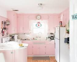pastel pink kitchen ideas cabinets and island white top freezer