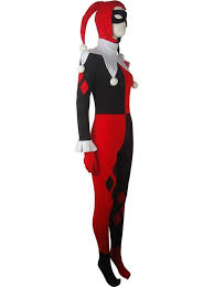clown jumpsuit supervillain harley quinn costume clown jester